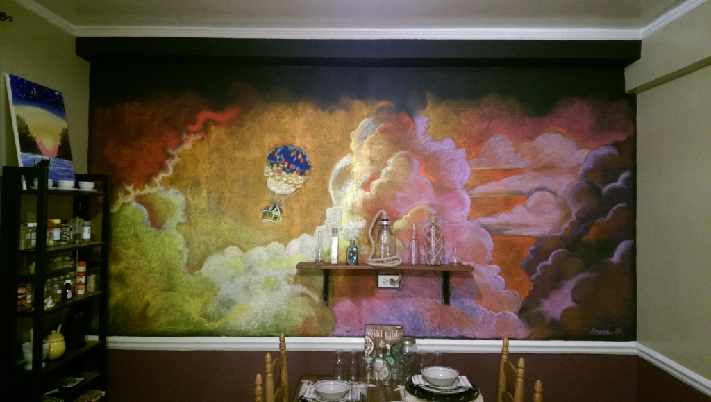 Kitchen mural from the film 'Up'.